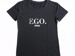 Tshirt noir, 100% coton, avec sérigraphie logo