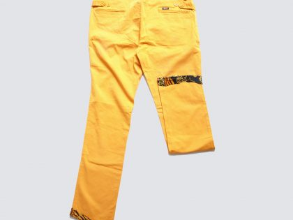 Pantalon en canvas de coton avec ourlets en soie