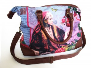 Sac en canvas de polyester avec impression par sublimation et anses en similicuir